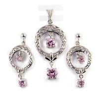 Pink Topaz Dangle Drop .925 Sterling Silver Earrings & Pendant Set on sale