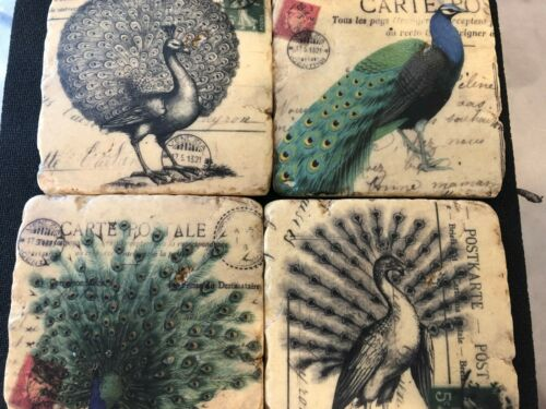 SET OF 4 Ceramic Assorted PEACOCK Coasters Hand Made GREAT GIFT FREE SHIP AE-144