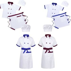 65f4c4376caae Boys Girls Chef Cosplay Outfit Unisex 3 pcs Fancy Dress Party ...