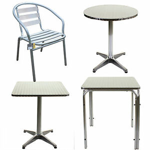Aluminium Chrome Bistro Table Square Round Stacking Chair Cafe