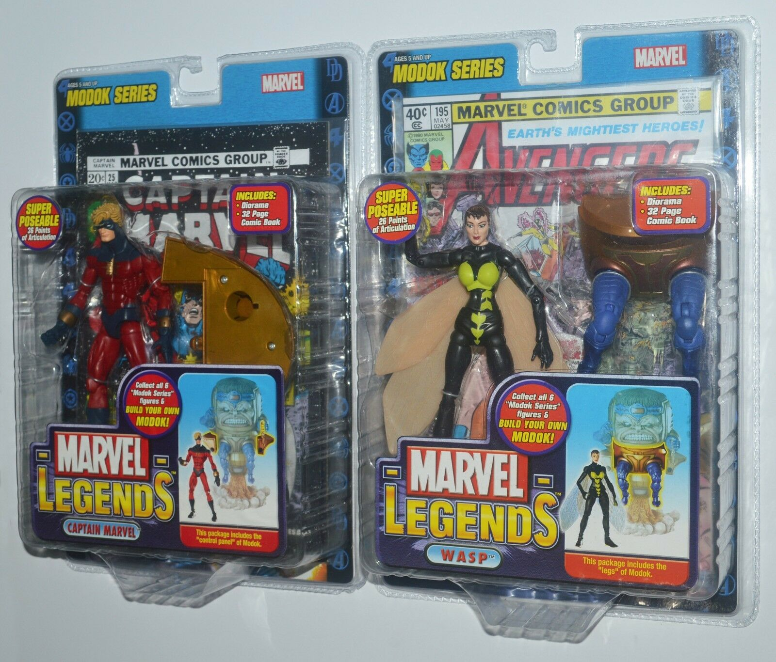 CAPTAIN MARVEL & WASP Marvel Legends Modok Series Action Figures MIP