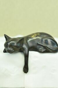 Signed-Desk-Top-Adorable-Cat-Bronze-Sculpture-Real-Hot-Cast-Figurine-Lost-Wax