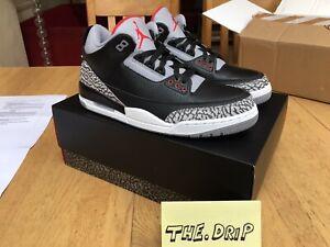 Air Jordan 3 Rétro Og Noir Ciment 2018 854262 -001 Uk 9.5-afficher Le Titre D'origine Mode Attrayante