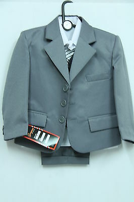 BOYS KIDS 5 PIECE FORMAL SUIT BLACK OR GREY IDEAL FOR WEDDING 6MTHS -15 vYEARS