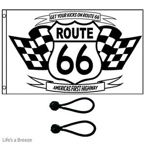 Route 66 Flag 5 x 3 ft Poles Or Windsocks Poles. COMES With FREE BALL TIES