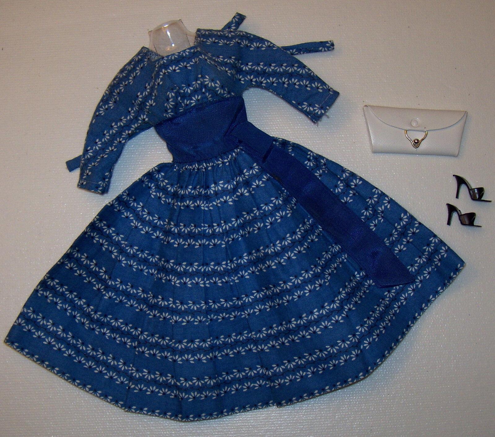 Vintage Barbie Let's Dance Crisp Blaues Kleid  978 & Schwarz Schuhe Weiß