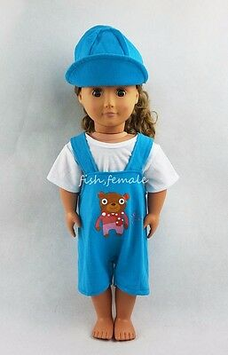 Fit For 18/'/'American Girl Doll Clothes Blue Suspenders Suit With Hat Girl Gifts