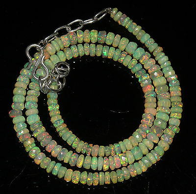 """44 Crts 4 to 5 mm 16""""Faceted Beads necklace Ethiopian Welo Fire Opal 63838"""