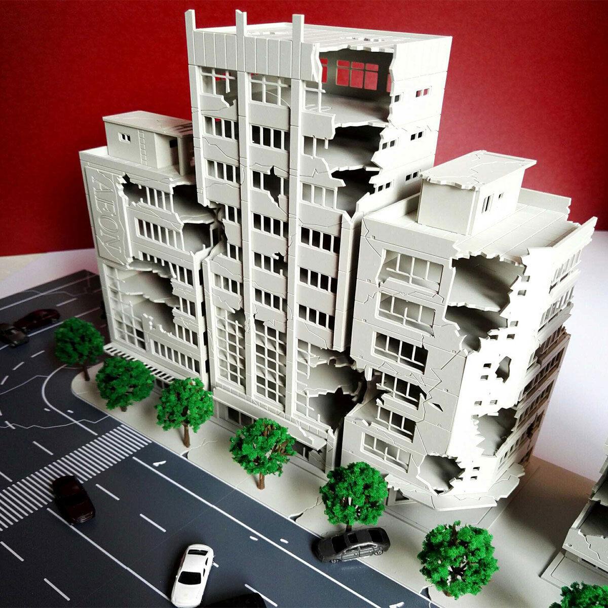 1 144 Ruined Damaged Building After War Outland Road Scene Model Gift !