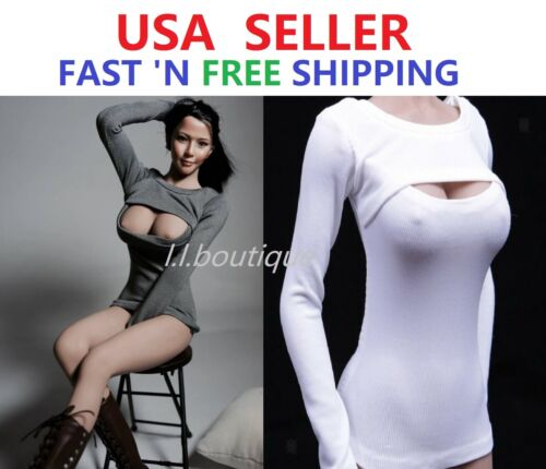 "1//6 Long Sleeves Open Chest Clothes for 12/"" Female Figure Doll PHICEN VERYCOOL"