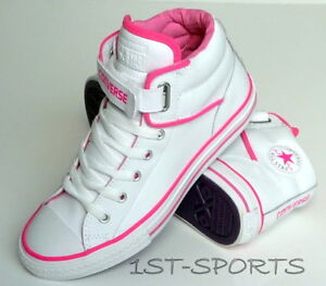 328c201aa193 Image is loading CONVERSE-JUNIOR-GIRLS-WHITE-LEATHER-TRAINERS-CT-PC-