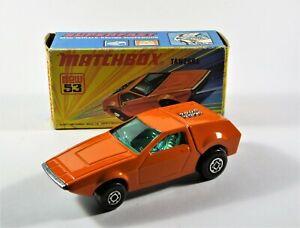 Vintage-1972-034-034-Matchbox-Superfast-N-53-Tanzara-en-Caja-Diecast-Modelo-Coche-de-juguete
