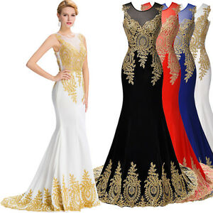 gk lang gold appliken abendkleid ballkleid brautkleid hochzeit kleid gr 32 44 ebay. Black Bedroom Furniture Sets. Home Design Ideas