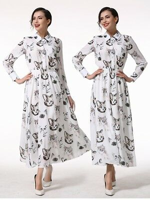 Elegant Women Cat Printed Chiffon Prom Party Evening Cocktail Dress A+++