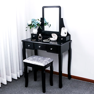 Details about Vanity Makeup Dressing Table Set W/Stool 5 Drawer&Mirror  Jewelry Wood Desk USA