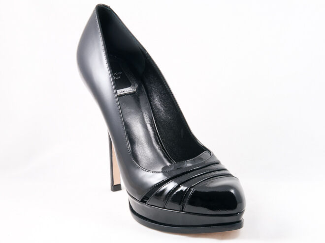 New  Christian  Dior Glam Black patent Leather shoes  38 US 8