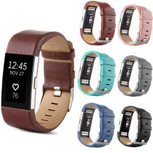 Veritable-Cuir-Bracelet-de-montre-classique-boucle-pour-Fitbit-Charge-2-cadeau