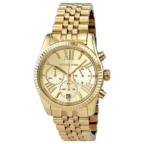 Michael Kors Lexington Chronograph Gold PVD Ladies Watch MK5556