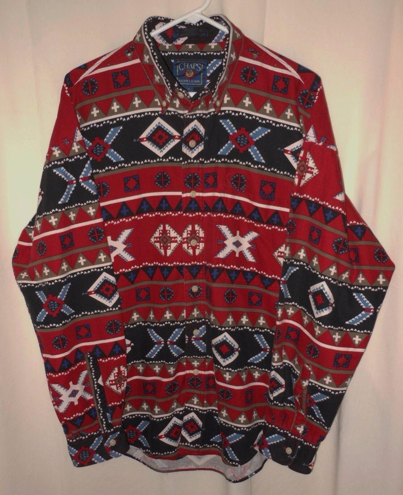 Vtg Ralph Lauren Chaps Shirt Fancy Printed Nordic Design 100% Cotton Medium