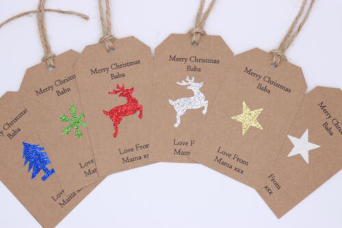10x PERSONALISED CHRISTMAS GIFT TAGS LABEL STICKER NAME CARDS TREE RUSTIC DECORA