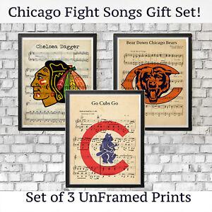 e33b4d37d Image is loading Chicago-Bears-Cubs-Blackhawks-Sports-Logo-Vintage-Fight-