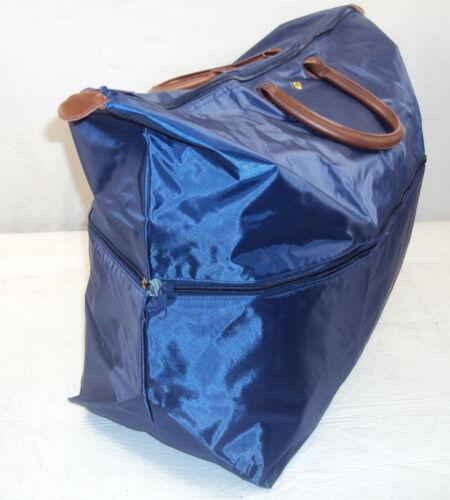 "Leather Handles ~ 19/"" x 15/""//23/"",10 ~ #140325-04 Expandable Tote,Blue//Gray Nylon"