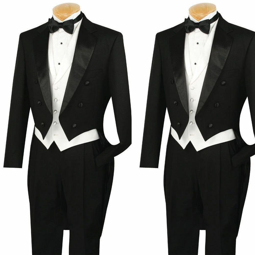 Men's Black Formal Classic Fit Tailcoat Tuxedo White Vest Wedding Groom Suits