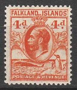 FALKLAND ISLANDS 1929 KGV WHALE AND PENGUIN 4D PERF 13.5