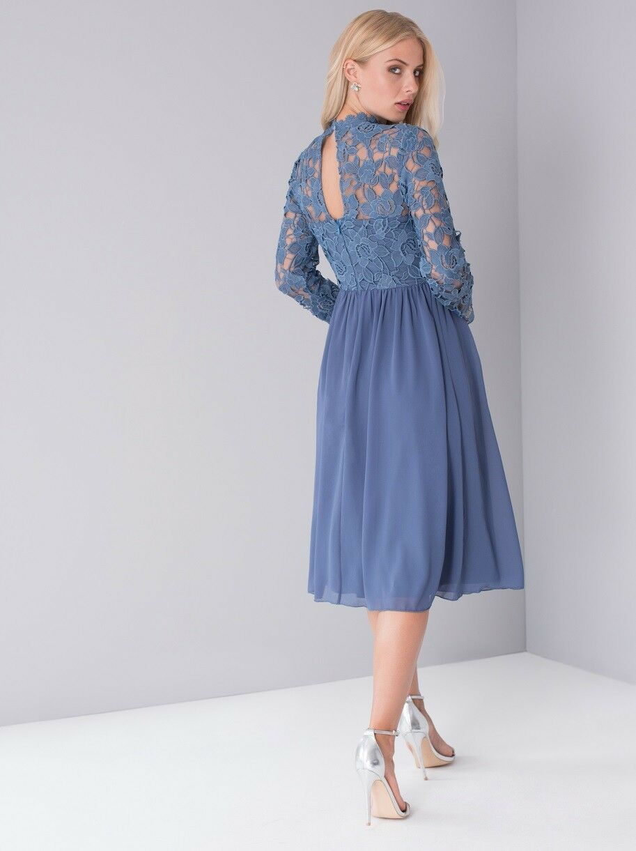 CHI CHI  London  Embroiderot  High Neck Midi Dress 12  14 Blau