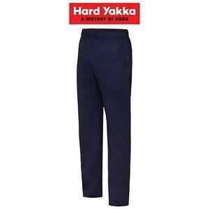 Mens-Hard-Yakka-Elastic-Waist-Work-Pants-Cotton-Drill-Trade-Industry-Job-Y02560