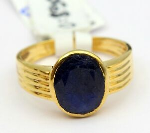 Elegant Blue Sapphire Ring 4.43 CT Oval Gem 18 Kt Yellow Gold Size US 9 4.870 gm