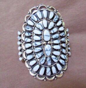 Image Is Loading Native Zuni Large White Buffalo Turquoise Cer Bracelet
