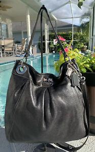 COACH-Madison-Hippie-Leather-Large-Hobo-Shoulder-Purse-Bag-14577-Handbag-Black