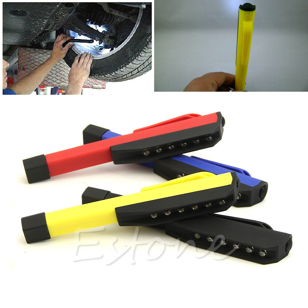 Super Bright 8 Led Work Light Torch Car Garage Flashlight: 6 LED Inspection Light Hand Pen Size Pocket Clip Work