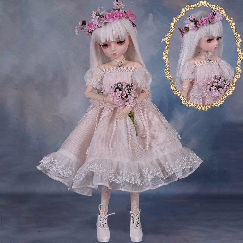 45cm BJD Doll Mädchen Puppe Gesicht Augen Make-Up Toy Mit Puppenkleid Schuhe Toy