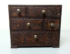VINTAGE HAND MADE MINIATURE / CHILD'S FURNITURE CHEST OF DRAWERS, INLAID DESIGN
