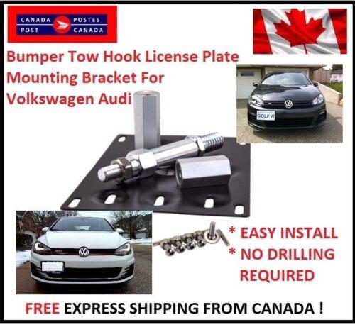 Bumper Tow Hook License Plate Mount Bracket For Volkswagen Audi Relocation Kit