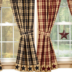 Farmhouse Star Lined Curtain Panels Burgundy Or Black And