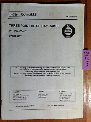 Tonutti 3 Three Point Hitch Hay Rake P1 P4 P5 P6 Parts Manual 99021001-0007  | eBay