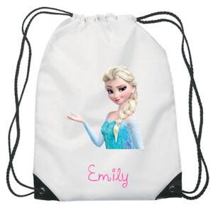 Elsa-Congelada-D2-Disney-Con-cordon-Natacion-escuela-PE-Bolsa-Para-Ninas-Personalizado