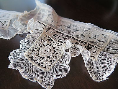 Vtg Antique Victorian Net Lace Constructed Ruffled Pair Cuffs  Delicate