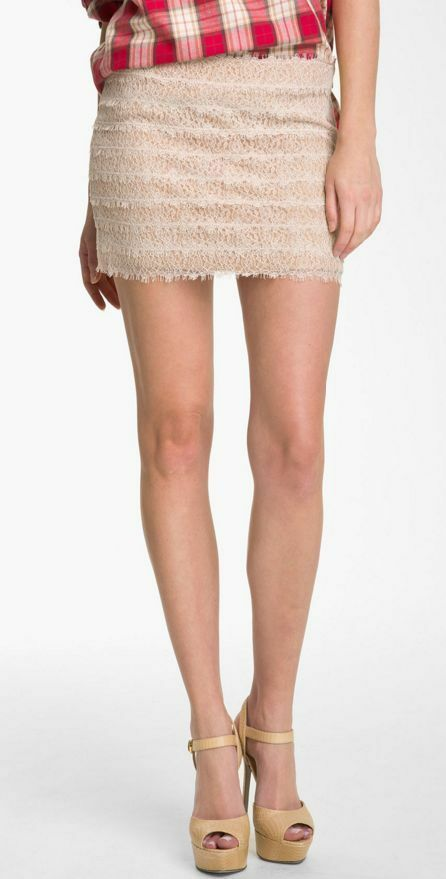 Haute Hippie Sexy Beige Lace Mini Skirt  Size S