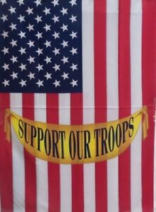 """Support Our Troops US Standard House Flag by Toland 28"""" x 40,"""" Yellow Ribbon"""