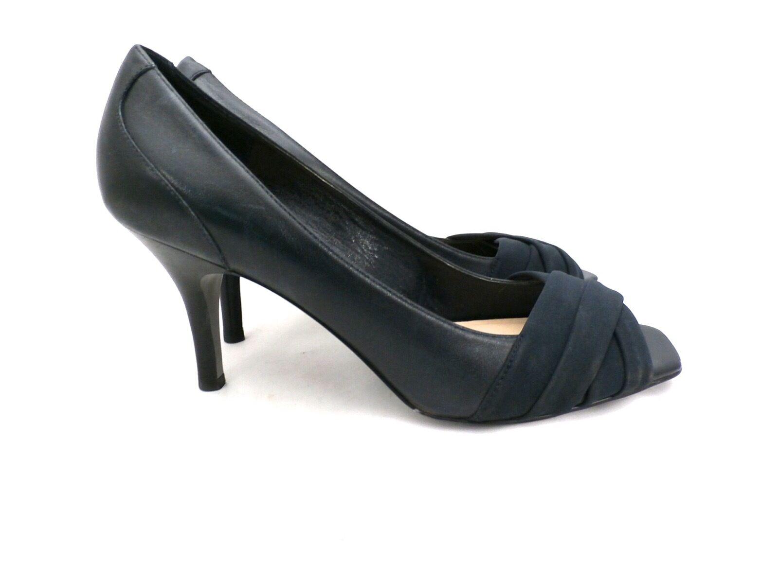 grandi prezzi scontati Ellen Tracy scarpe Pumps Pumps Pumps Open Toe Leather Navy blu Radley 10 M High Heel  fornire un prodotto di qualità