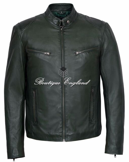 'SPEED' Men's Green Cool Retro Biker Style Motorcycle Real Lamb Leather Jacket