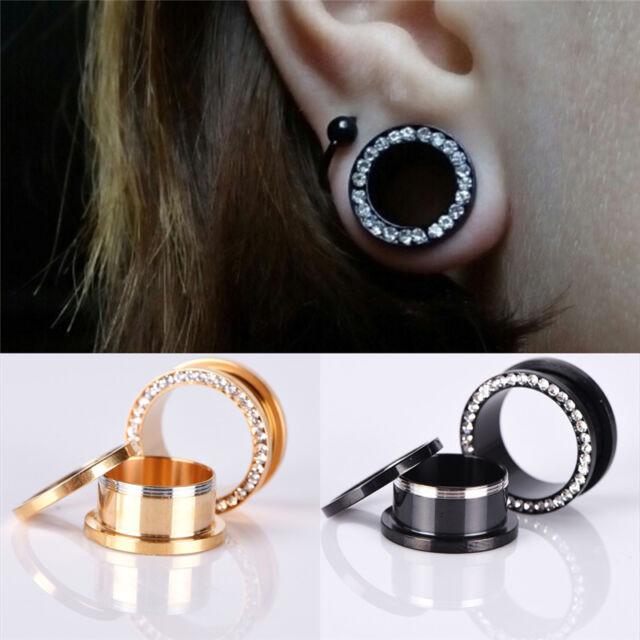 1XRhinestone Crystal Screw Tunnel Ear Expander Stretch Plugs Piercing Gaug RAC