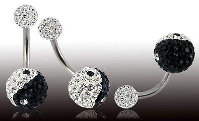 Piercing nombril boule cristal yin yang 2 Designs Disponibles