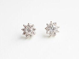 Cz Flower Stud Earrings With Sterling Silver Ear