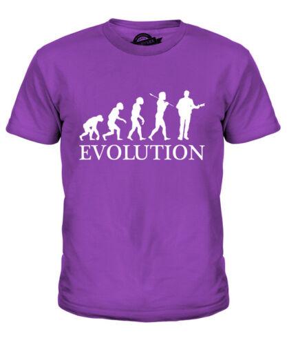 GUITARIST EVOLUTION OF MAN KIDS T-SHIRT TEE TOP GIFT ACOUSTIC GUITAR