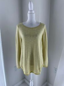 Eileen-Fisher-Gold-amp-White-Stripe-Organic-Linen-amp-Cotton-Knit-Tunic-Top-M